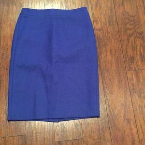 Wool blue pencil skirt